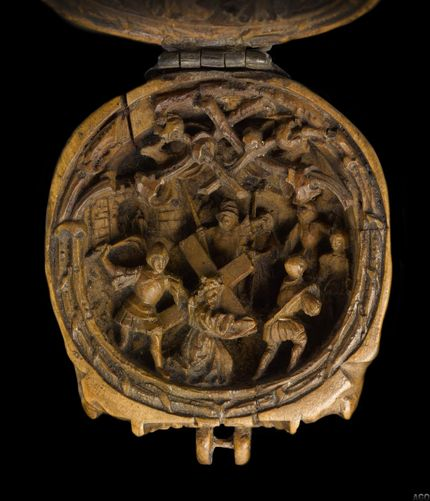 "Prayer bead in the form of a skull, AGO ID 29283. Detail showing ""Christ Carrying the Cross."" AGO ID 29283. The Thomson Collection of European Art © Art Gallery of Ontario"