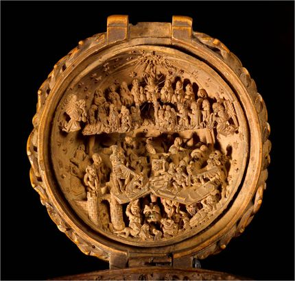 "Workshop of Adam Dirksz, Prayer bead, AGO ID.29365. Detail showing ""The Last Judgement."" AGOID.29365. The Thomson Collection of European Art © Art Gallery of Ontario"