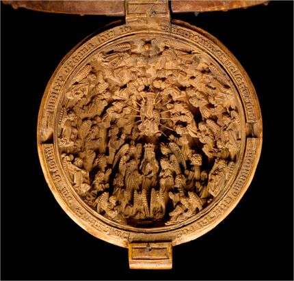 "Workshop of Adam Dirksz, Prayer bead, AGOID.29365. Detail showing ""The Coronation of the Virgin."" The Thomson Collection of European Art © Art Gallery of Ontario"
