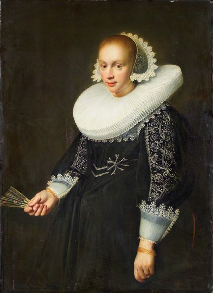 Jan Daemen Cool (1589-1660), Portrait of a young woman with a fan, 1636. National Gallery in Prague