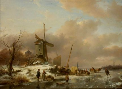 Andreas Schelfhout, Winter View of Dordrecht. OMSK M.A. Vrubel Museum, Omsk