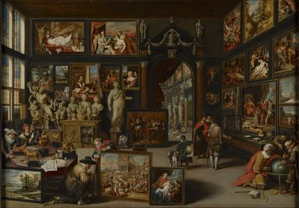"Willem (Guillam) van Haecht, Art Cabinet with Anthony van Dyck's ""Mystic Marriage of Saint Catherine"", The Bute Collection at Mount Stuart"
