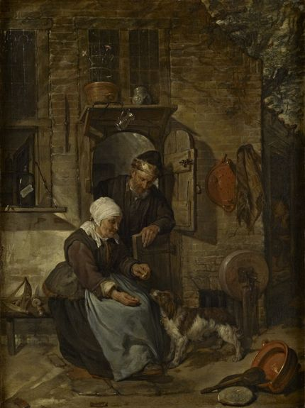 Gabriel Metsu, An Old Woman Feeding a Dog, The Bute Collection at Mount Stuart