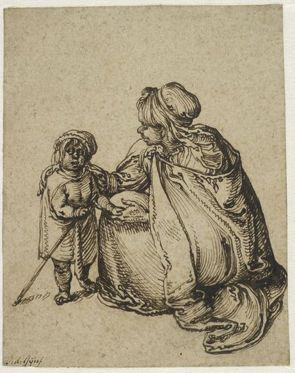 Jacques de Gheyn II, A Roma Woman with a Child. The Maida and George Abrams Collection, Fogg Art Museum, Harvard University, Cambridge, Massachusetts, Promised Gift, 25.1998.10