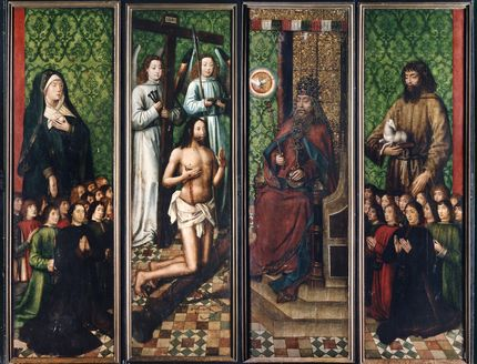 Bruges Master of the Saint Lucy Legend, The Altarpiece of the Virgin Mary of the Brotherhood of the Black Heads, before 1493 Second view of the altarpiece. Art Museum of Estonia