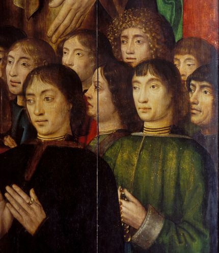 Bruges Master of the Saint Lucy Legend, The Altarpiece of the Virgin Mary of the Brotherhood of the Black Heads, before 1493 Praying donors on the inside of the outer wings Art Museum of Estonia
