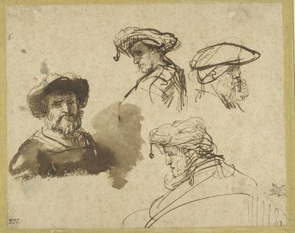 Rembrandt, Four Studies of Male Heads. Maida and George Abrams Collection, Boston, Massachusetts