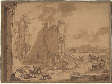 Nicolaes Berchem, The ruins of Brederode castle in an Italianate landscape. The Metropolitan Museum of Art, New York