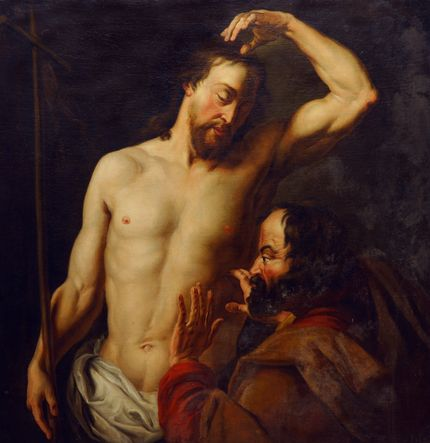 Follower of Hans Jordaens I, The disbelief of Saint Thomas. Auckland Art Gallery Toi o T ̄amaki, Auckland (gift of Mrs. S.D. Price, 1954)
