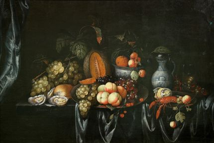 J Bourjinon, Still life with fruit and shellfish. Auckland Art Gallery Toi o Tāmaki (gift of an anonymous donor, 1954)