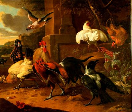 Copy after Melchior d'Hondecoeter, The Poultry Yard. OMSK M.A. Vrubel Museum, Omsk, Russia